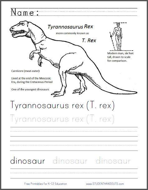 Tyrannosaurus Rex (T. Rex) Coloring and Writing Worksheet | Free to print (PDF file).