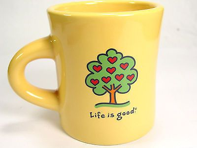 Life Is Good Coffee Mug Cup Yellow Thick Diner Style Heart