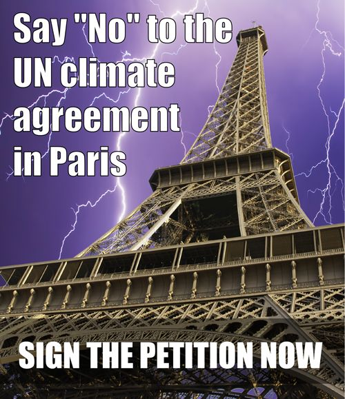 CFACT presents four inconvenient facts about global warming at COP 21 display