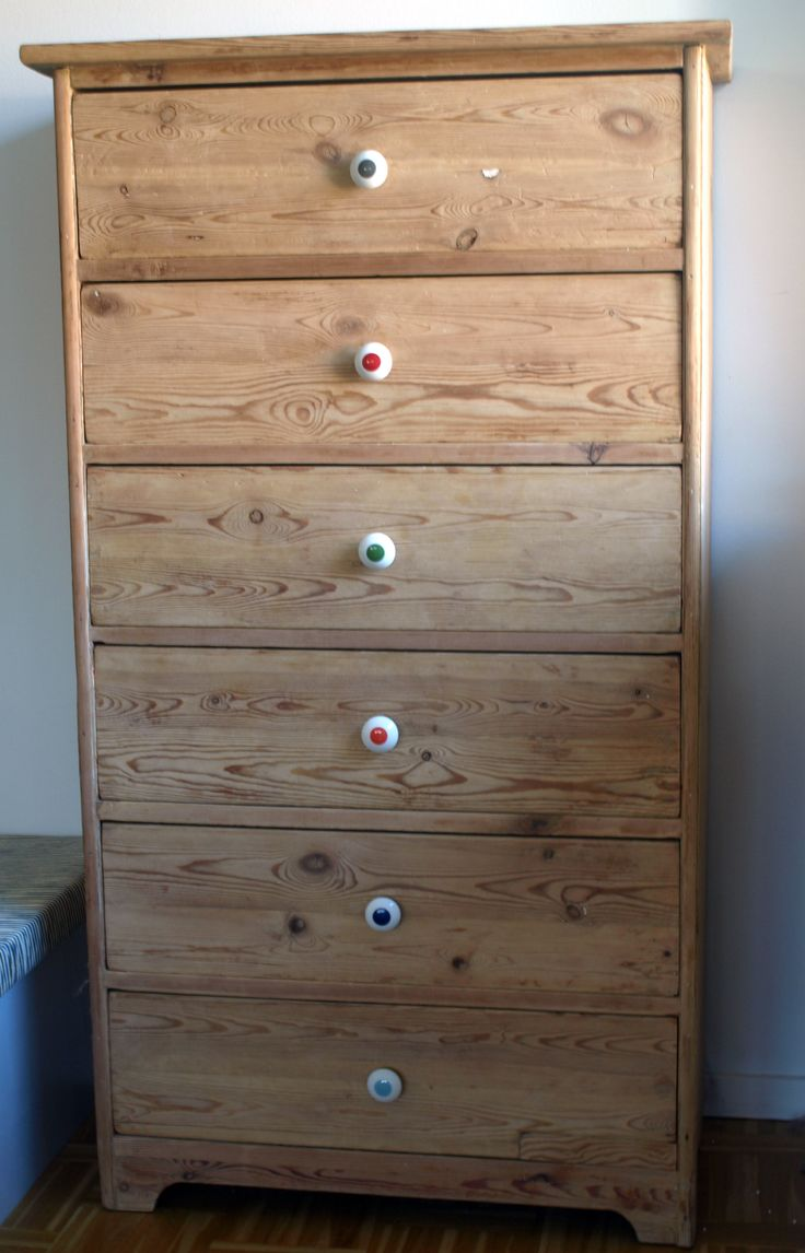 Old acid-washed dresser with new handles from Anne Black dots