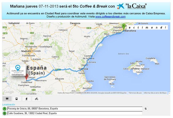 Mañana 07 de noviembre de 2013 Actimundi estará en Ciudad Real coordinando el 5to Coffee and Break de la Caixa para sus clientes más cercanos. Diseño y producción de Actimundi www.coffeeandbreak.com