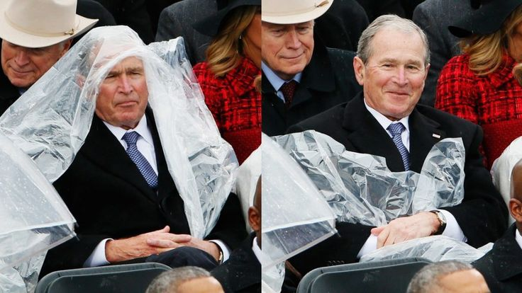 "George W. Bush knows how silly he looked battling a rain poncho in the bad weather during Donald Trump's inauguration ceremony.Advertisement ""I wish I got the rain poncho on a little more clearly,"" the former president said in an interview Thursday with NPR's Morning Edition. ""My daughters were aghast: 'Dad, you're a national tweet sensation. …"