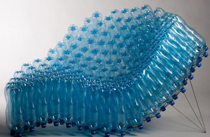 Lounge chair out of PET bottles is designed by Pawel Grunet and is at a Milan gallery in Italy.