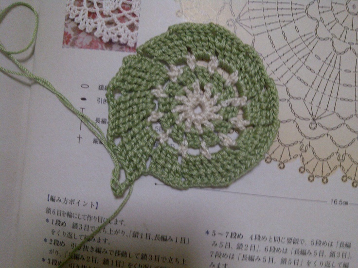 lace crochet. green + cream.