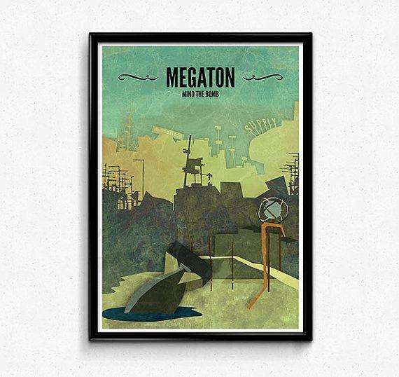 Megaton // Fallout 3 Poster, Fallout Print, Video Game Art, Gamer Print, Fallout Art, Game Decor