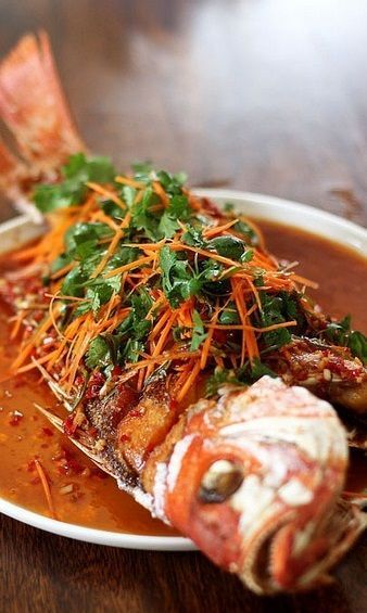 CRISPY FRIED WHOLE RED SNAPPER with GARLIC, GINGER, CHILE, CARROT & CILANTRO [wtseafood]