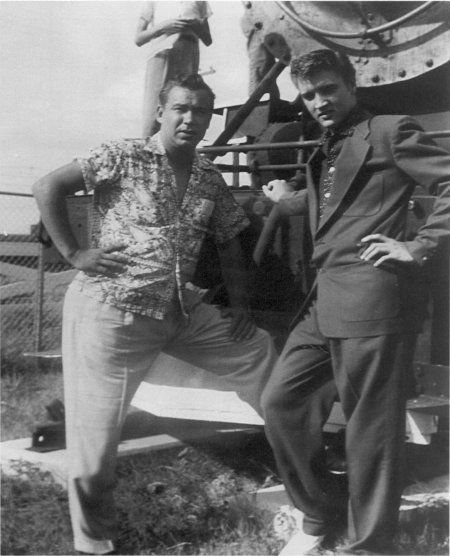 "Elvis Presley and Bill Bruner May 25, 1955 at the ""Jimmie Rodgers Festival"" in Meridian MS"