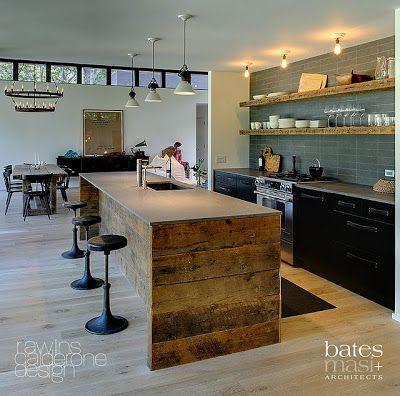 Cinária Mendes: Cozinha moderna com madeira rustica
