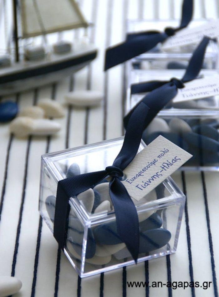 Μπομπονιέρα βάπτισης plexiglass, μπλέ-λευκό – Favor Kit
