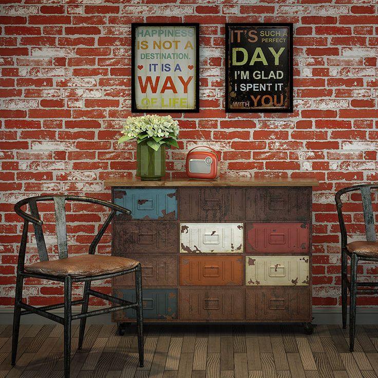 Details about Vintage Faux Brick Textured 3D Wallpaper Red