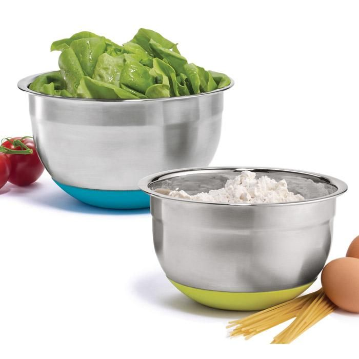 "Mix anything up in these non-skid prep bowls. Dishwasher safe. Large, 7"" D; small, 6 1/4"" D. Stainless steel, silicone. Imported."