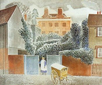 """Vicarage, Castle Hedingham, Essex"" by Eric Ravilious. The village pictured is where Ravilious and his family lived in the 1930s."