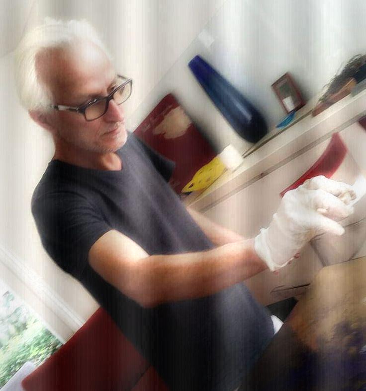Imre Badonski in his art studio