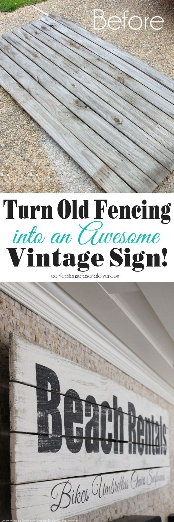 This beachy sign was made from old fence pickets. Confessions of a Serial Do-it-Yourselfer