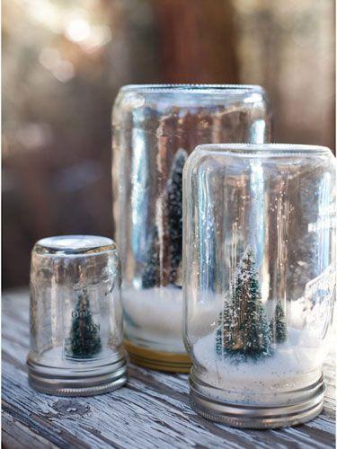 Homemade snowglobesCrafts Ideas, Winter Scene, Christmas Jars, Cute Ideas, Snow Globes, Christmas Decor, Mason Jars, Christmas Trees, Diy Christmas
