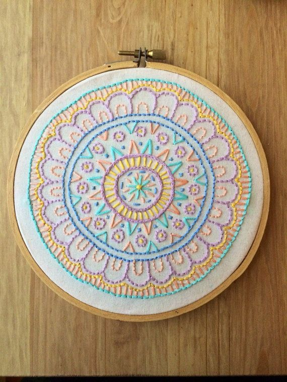 SALE mandala • hand embroidered mandala in a 6 inch hoop with pastel colors