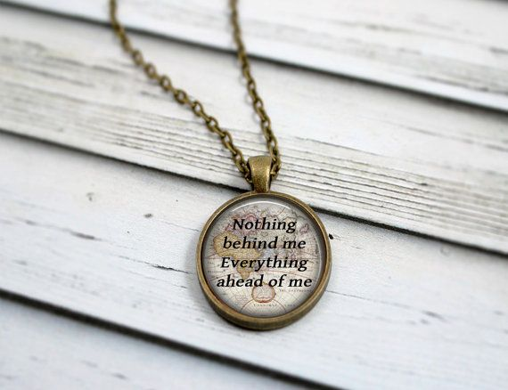 Jack Kerouac Quote Necklace, On The Road Quote, Nothing Behind Me Everything Ahead Of Me, Map Necklace, Inspirational Jewelry on Etsy, $22.30 CAD