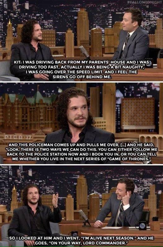 Kit Harington on the Tonight Show with Jimmy Fallon - don't know that I believe it, but too funny!
