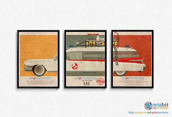 This is a wonderful high quality print spanning three 16x12 posters of the Ghostbusters Ecto-1 car with text from the movie offering the Ghostbusters services for hire.  This is also available as a single long poster, visit our shop for the listing.  All items come gift wrapped for free!  It can be shipped internationally, see our postage options for details. Frame not included.  This artwork is exclusive to Wiz.Bit Art & Design, you will not find this available anywhere else.  The artwo...