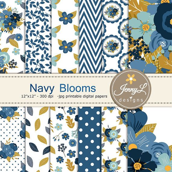 Navy Blue Floral digital paper, Wedding Floral Paper Digital scrapbooking, invitations, birthday, wedding, Planners