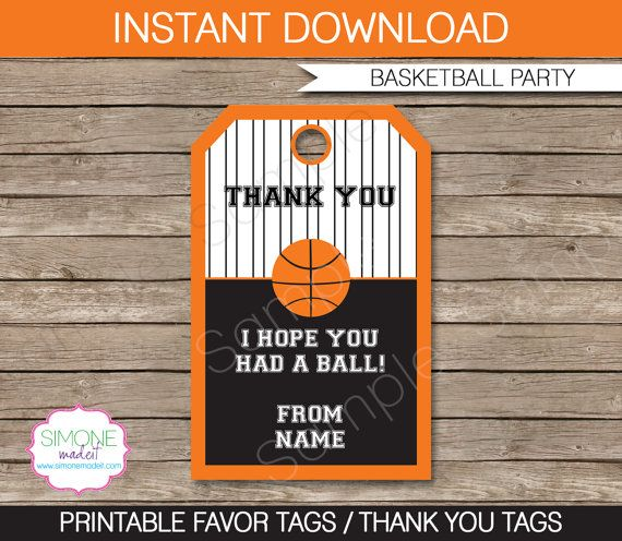Basketball Favor Tags - Thank You Tags - Birthday Party ...