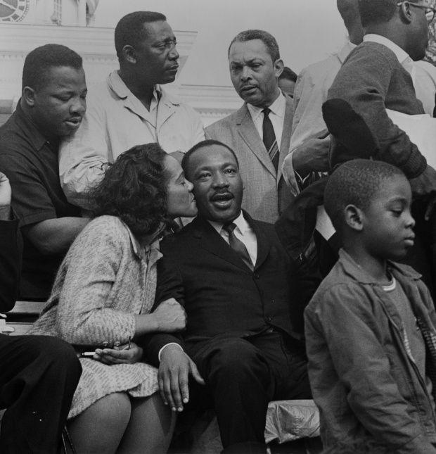 Coretta Scott King kisses her husband Martin Luther King Jr in Montgomery, 1965