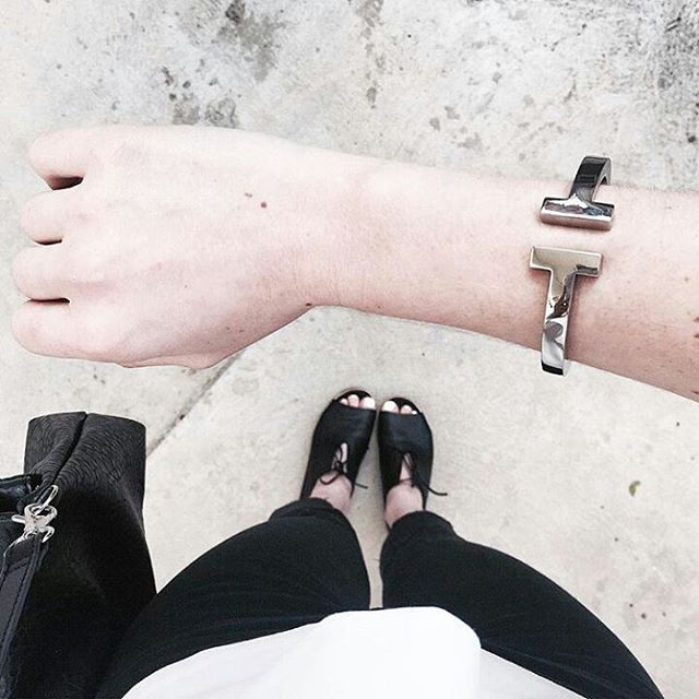 Loving this minimalist piece! @maddvv's stylish look featuring our Metallic T…