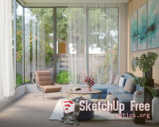1043 Interior Beautiful Livingroom Scene Sketchup Model Free