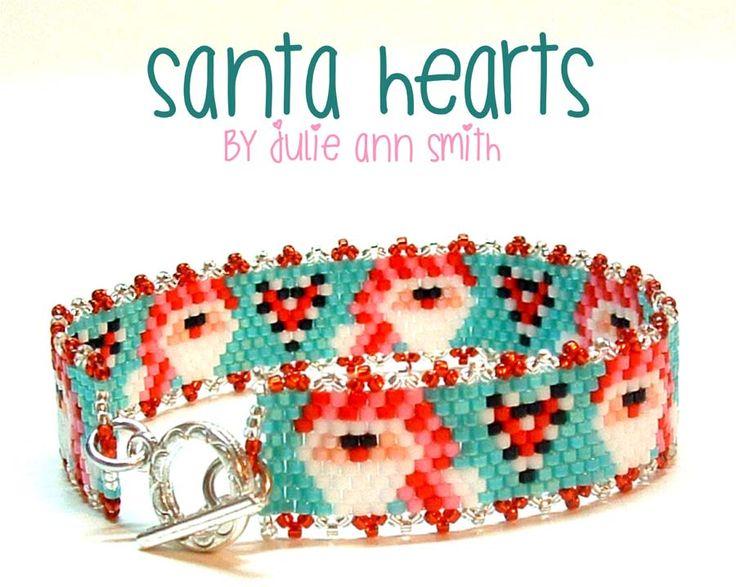 SANTA HEARTS Beaded Bracelet Pattern | Bead-Patterns.com