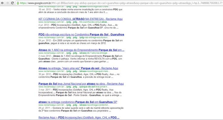 Varias manifestações de compradores da PDG. Nesse caso a construtora atrasou em mais de 1 ano a entrega do residencial Parque do Sol em Guarulhos.  Além do atraso da obra, a PDG também prejudicou os mutuários com cobrança de Taxa Sati indevidamente, a taxa de corretagem, entre outras infrações.  Defenda seus direitos, procure-nos e saiba como: http://associacaoapamp.blogspot.com.br/