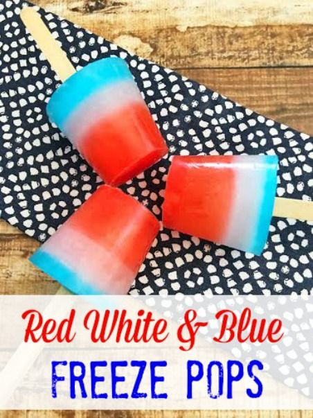 These Red White & Blue Freeze Pops are easy to make and they will be big hit at your 4th of July cookout this year.  The kids (and adults) will love them!
