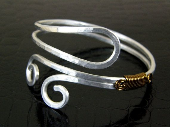 Hammered Aluminum Bracelet with Wire Wrap Brass by BonzerBeads, $24.00