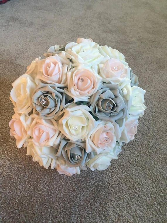 Bride/Bridesmaid Bouquet Blush, Grey, Vintage Peach and White Bridal Sparkle Pins wedding  artificial  Foam roses  flowers Butterfly