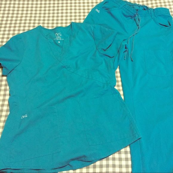 NrG teal scrubs NrG teal scrubs. Size M. Both top and bottom included. Two pairs available NrG Other
