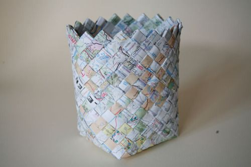 DIY project: Weave outdated maps into baskets. ... – Unconsumption