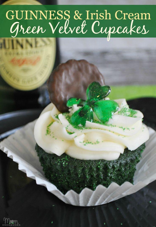 Guinness & Irish Cream Green Velvet Cupcakes for St. Patrick's Day! #StPatricksDay #recipe