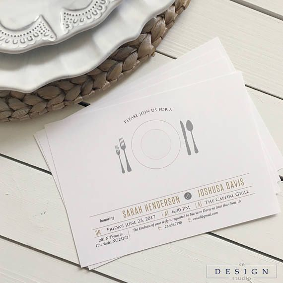 Modern Rehearsal Dinner Invitation with  Place Setting and