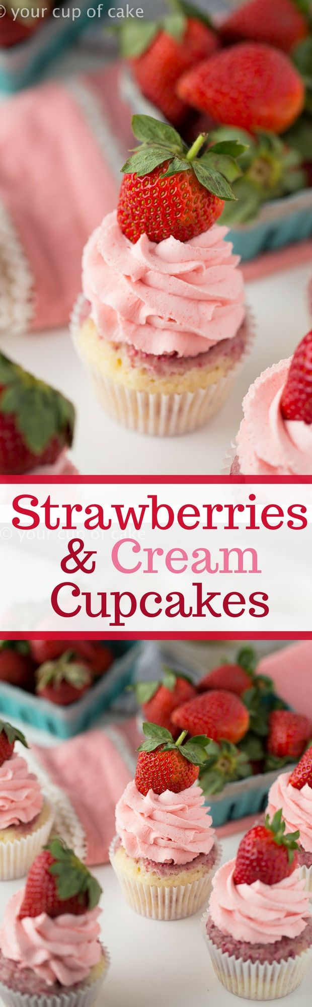 Strawberries and Cream Cupcakes, SO cute and pink! Love these for bridal showers to Valentine's Day