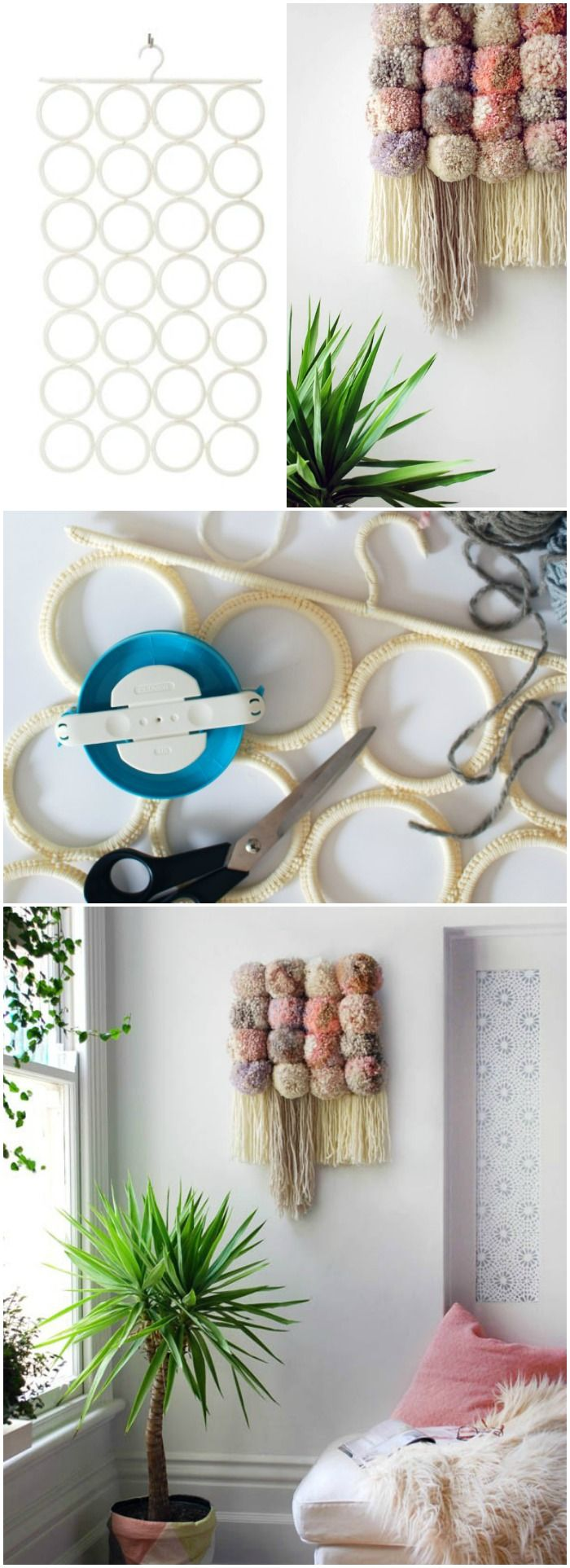 IKEA Hack + step-by-step tutorial: How to transform IKEA's KOMPLEMENT Multi-use hanger into an incredible pom-pom wall hanging. #tutorial #pompom #wallhanging #ikeahack
