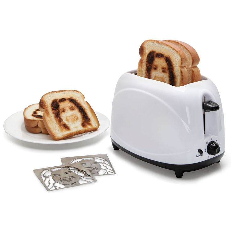 The Selfie Toaster - This is the appliance that indelibly brands its owner's image onto a slice of bread. Only available from Hammacher Schlemmer, the toaster uses custom heating inserts crafted from a submitted headshot photograph. A subject's full facial details are converted into twin removeable stainless steel inserts, allowing its heating elements to brown light or dark likenesses of the subject onto one side of toast, removing any question as to the ownership of the next two slices.