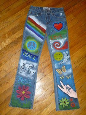 Bunten handgemalten Hippie Jeans von SageMeadowDesigns auf Etsy