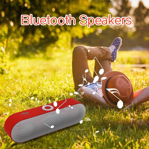 NBY-18 Bluetooth speaker provides ultra-shock sound quality, passive subwoofer with 2pcs 45mm loudspeakers, large sound field to cover. Simply play music via Bluetooth, Micro SD slot, USB port, or with the included Aux cable.