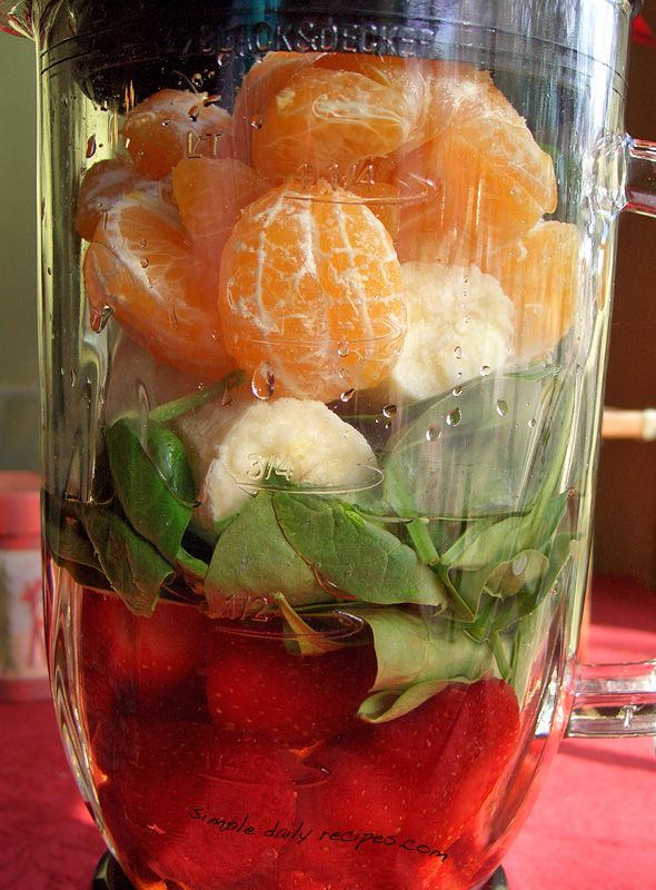Popeye's Citrus Smoothie: 1 heaping cup frozen strawberries  1 heaping cup fresh baby spinach  1 large, ripe banana  4 clementine oranges, peeled and seeded  1 cup water