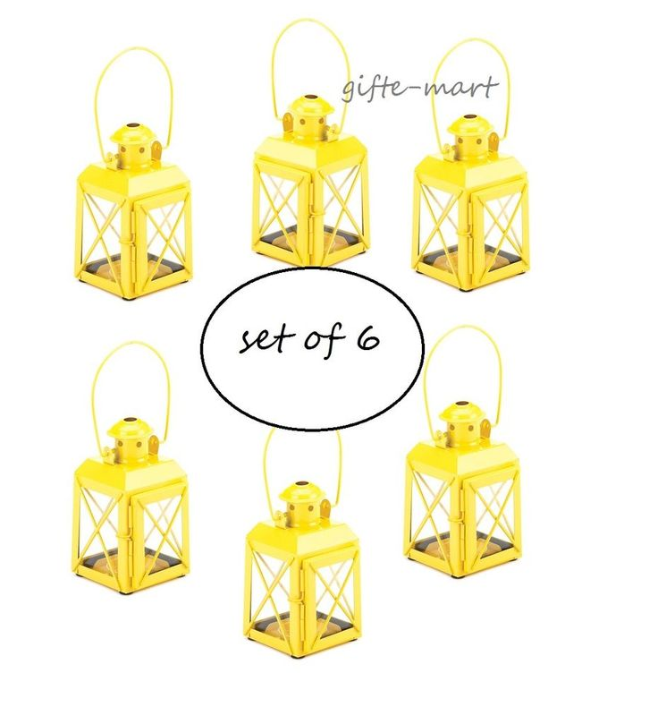"6 Small MINI Yellow Candle Holder 5"" railroad lantern wedding favor centerpiece"