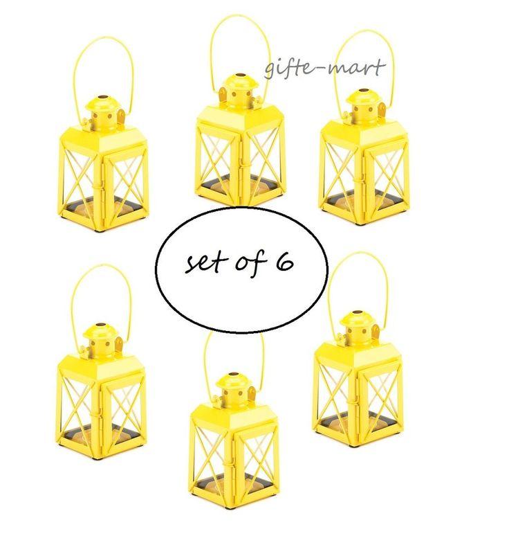 "6 Small MINI Yellow Candle Holder 5"" railroad lantern wedding favor centerpiece"