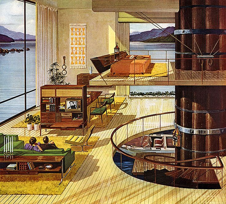 charlesschriedde a fifties modern house showing living room dining room and bedroom - Living Room 1950s