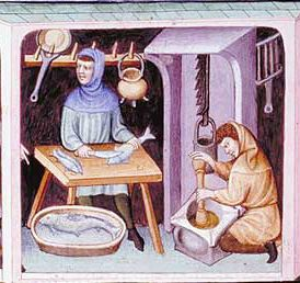 """Cooks and Cooking.- from The Tacuinum Sanitas , Late 14th century.  1415  (TAG: LINK=>BLOG PAGE LABELED """"MEDIEVAL TRADES AND CRAFTS"""" W/MANY MORE IMAGES; PUBLIC DOMAIN)"""