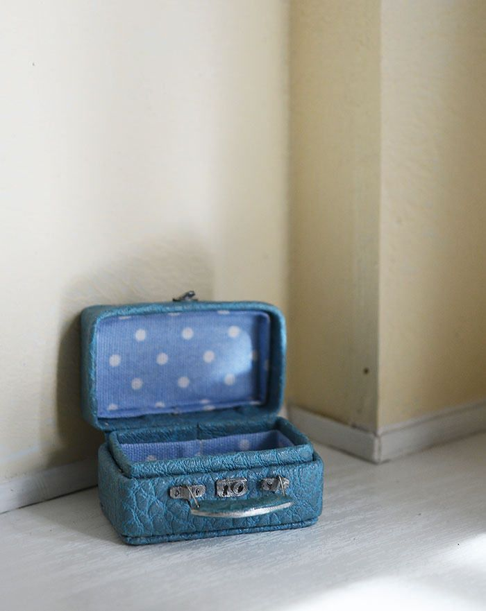 Blue Suitcase for doll, 1/12 Dollhouse Miniature Scale, Big bag for clothes by Galchi on Etsy