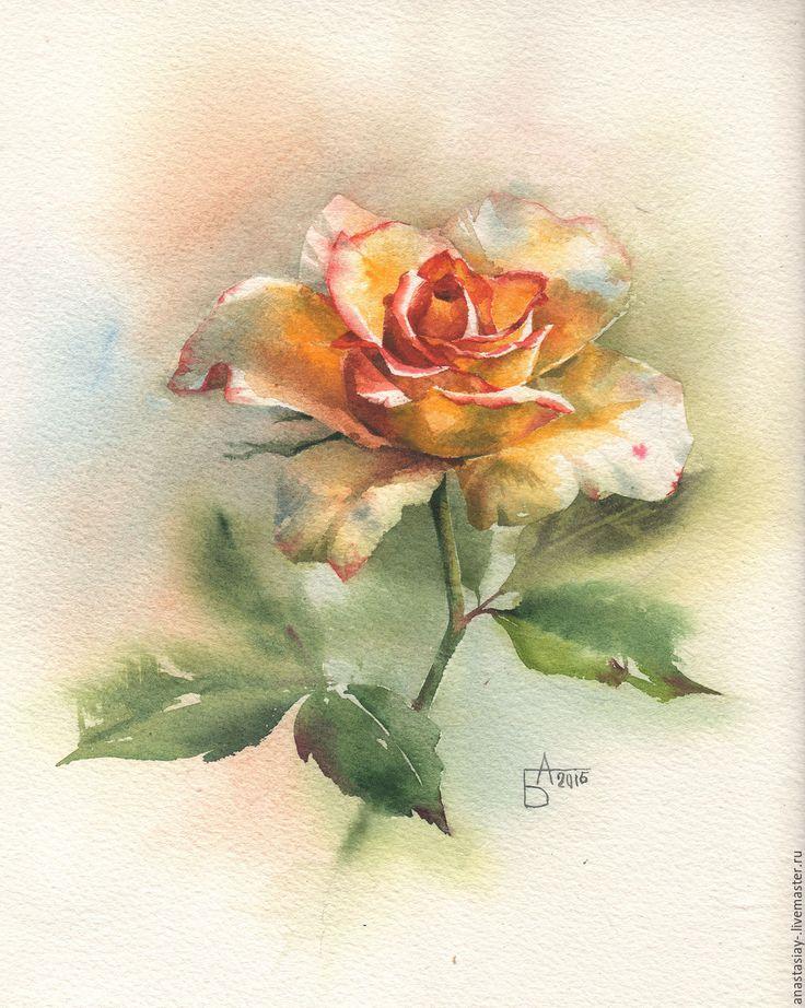 Купить Желтая роза - желтый, роза, акварель, цветы акварелью, цветы, живопись акварелью, акварель