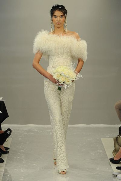 Chantilly lace bridal jumpsuit by Theia.